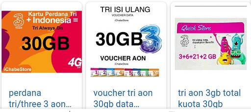 Paket Internet TRI 30GB Murah dibawah 50 ribu dari sumo