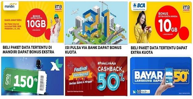 Cashback pulsa Bank Populer